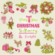 Christmas Card - with set of hand drawn christmas elements — Stock Vector