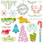 Christmas Frames, Wreath, Light bulbs Set - for design and scrap — Stock Vector