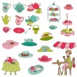 English Tea Party Set - for design, scrapbook, photo booth — Stock Vector #36040989