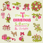 Christmas Card - with set of hand drawn christmas elements — ストックベクタ