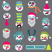 Photobooth Snowman Party set - Glasses, hats, lips, mustache, masks — Stock Vector