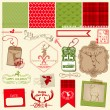 Scrapbook Design Element - Christmas Reindeer Set - frames, tags — Imagen vectorial