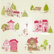 Set of Christmas Houses  - for design and scrapbook - in vector — Stock Vector