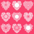 Set of Lace Hearts - for design and scrapbook - in vector — Stock Vector