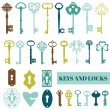 Set of Antique Keys and Locks - for your design or scrapbook — Stock Vector