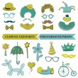 Clown and Party - Photobooth Set - Glasses, hats, lips, mustache — Cтоковый вектор
