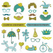 Clown and Party - Photobooth Set - Glasses, hats, lips, mustache — Stock vektor