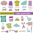 Chef and Kitchen - Photobooth Set - Glasses, hats, lips, mustache — Stock Vector
