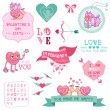 Cute Valentine's Day and Love Set - for Valentine's day — Stock Vector