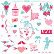 Vintage Love Elements - for Wedding and Valentine's Day — Stock Vector