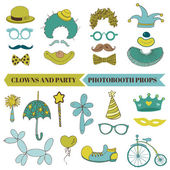 Clown and Party - Photobooth Set - Glasses, hats, lips, mustache — Stock Vector