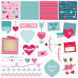 Stock Vector: Scrapbook Design Elements - Love, Heart and Valentines -