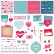 Scrapbook Design Elements - Love, Heart and Valentines - — Stock Vector