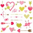 Stock Vector: Love, Heart and Arrows Set - for Valentine's Day - in vector