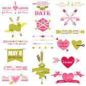 San valentín y el gráfico de boda set - flechas, plumas, corazón — Vector de stock