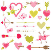Love, Heart and Arrows Set - for Valentine's Day - in vector — Stock Vector