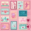 Love Stamps - for Wedding, Valentine's Day - in vector — Stock Vector