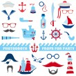 Nautical Party set - photobooth props - glasses, hats, ships, mustaches — Stock Vector #38755693