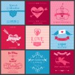 Stock Vector: Set of Love Cards - Wedding, Valentine's Day, Invitation