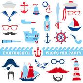 Nautical Party set - photobooth props - glasses, hats, ships, mustaches — Stock Vector