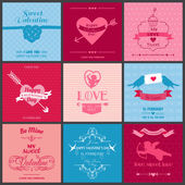 Set of Love Cards - Wedding, Valentine's Day, Invitation — Stok Vektör