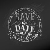 Save the Date - Wedding Chalkboard Card - in vector — Stock Vector