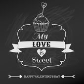 Vintage Valentine's Day Card Design - love, wedding - in vector — Stock Vector