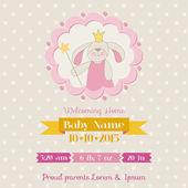 Baby sprcha nebo příjezdu karta - zajíček holčička - ve vektoru — Stock vektor