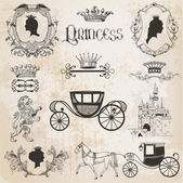 Vintage Princess Girl Set - for design and scrapbook - in vector — Stock Vector