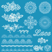 Set of lace, ribbons, flowers - for design and scrapbook — Stock Vector