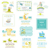 Set of Baby Shower and Arrival Cards - for design and scrapbook — Stock Vector