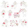Set of cute Angels and Cupids - Love, Wedding, Valentine's Theme — Stock Vector