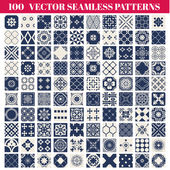 100 Seamless Patterns Background Collection — Stockvektor