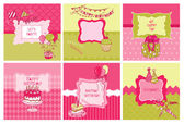 Set of Cards - Birthday and Party Theme - in vector — Stock Vector