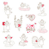 Set of cute Angels and Cupids - Love, Wedding, Valentine's Theme — Vettoriale Stock