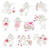Conjunto de ángeles lindos y cupidos - amor, boda, tema del día de san valentín — Vector de stock