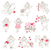 Set of cute Angels and Cupids - Love, Wedding, Valentine's Theme — Stockvektor