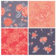 Seamless background Collection - Vintage Flowers — Stock Vector