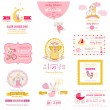 Stock Vector: Set of Baby Shower and Arrival Cards - for design and scrapbook