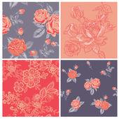 бесшовный фон коллекции - винтажные цветы — Cтоковый вектор