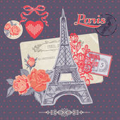 Scrapbook Design Elements - Paris Vintage Card with Stamps — Stock Vector