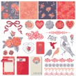 Scrapbook Design Elements - Vintage Roses and Birds - in vector — Stockvektor