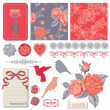 Scrapbook Design Elements - Vintage Roses and Birds - in vector — ストックベクタ