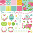 Scrapbook Design Elements - Floral Shabby Chic Theme - in vector — Stock Vector #40523579