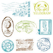 Vector Set of Retro SEA stamps - for design and scrapbook — Stock Vector
