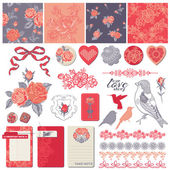 Scrapbook Design Elements - Vintage Roses and Birds - in vector — Stock Vector
