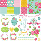 Scrapbook Design Elements - Floral Shabby Chic Theme - in vector — Stock Vector