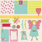 Scrapbook Design Elements - Baby, Birthday, Party Set — Vettoriale Stock