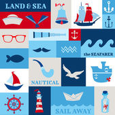 Nautical Sea Design Elements - for scrapbook and design — Stock vektor