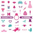 Wedding Party Set - Photobooth Props - glasses, hats, mustaches — Stock Vector #40887919